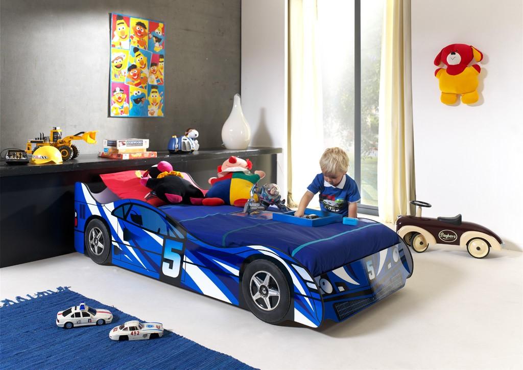 Standard Blue Race Car Bed